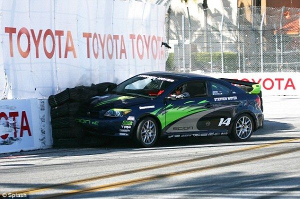 car go over toyota pro celebrity race