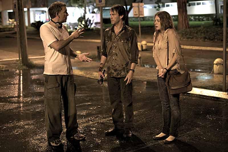 Director Matthew Parkhill, Stephen Moyer and Rachelle Lefevre