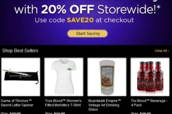 Save $$$ at HBO Shop with coupons and deals like: 15% Off Sitewide ~ 15% Off Your First Order After HBO Shop Newsletter Sign Up ~ Free Shipping on Orders $75+ ~ The Official Westworld Shop ~ Game of Thrones All Over Lannister T-Shirt - $ ~ Shop True Blood Merchandise ~ and more >>>.