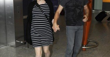 Anna Paquin and Stephen Moyer at Heathrow Airport