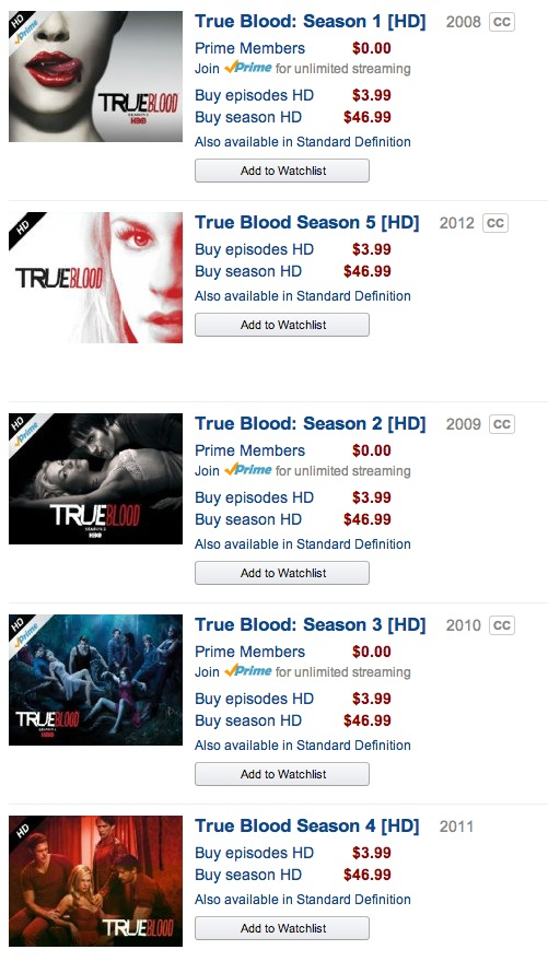 True Blood on Amazon