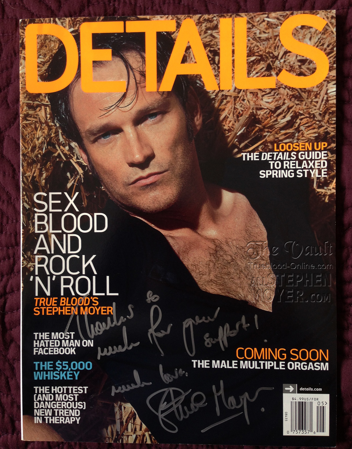 Another Winner Of A Details Magazine Signed By Stephen Moyer